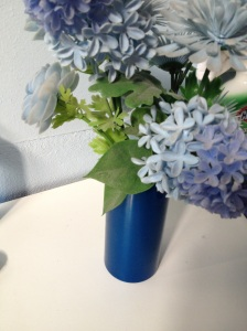 blue plastic flowers