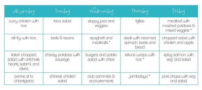 June Monthly Menu